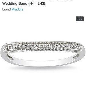 14k white gold with diamond curved wedding band